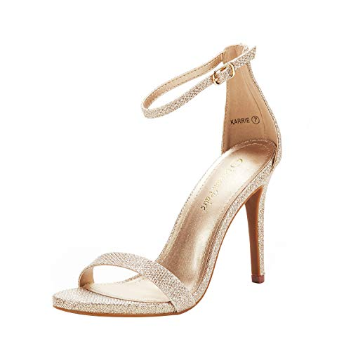 DREAM PAIRS Women's Karrie Gold Glitter High Stiletto Pump Heeled Sandals Size 7.5 B(M) US
