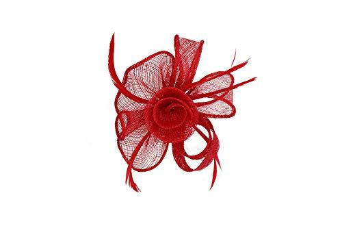 Finecy In Bibi élégant en sinamay avec boucles et plumes - Rouge - Small