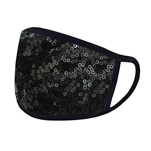 Zufälliges Muster Verstellbar Waschbare für Frauen und Männer Anti-Staub Mit uv Schutz Pailletten Baumwollstoff Schwarze