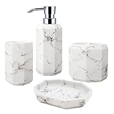 Allure Home Creations Marble Effect Facet 4-Piece Bathroom Accessory Set - 1 Lotion Pump,1 Toothbrush Holder,1 Soap Dish and 1 Tumbler
