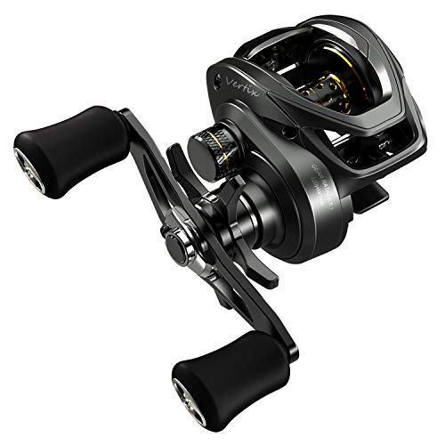 Tempo Vertix LP, High-Tech Innovative Baitcasting Reel, 9 + 1 BB, Low Profile & Lightweight, Powerful & Durable, 6.6:1 Gear Ratio, Great Value!(R Dark Grey)