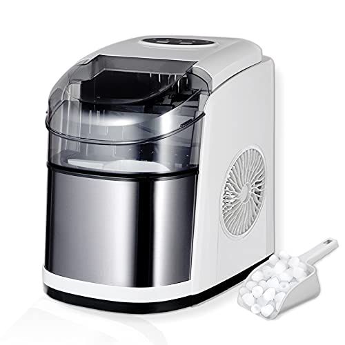 WATOOR Portable Ice Maker Machine for Countertop, 26 lbs Bullet Ice Cube in 24H, 9 Ice Cubes Ready in 6-9 Minutes,2.2L Ice Maker Machine with Ice Scoop and Basket Gray
