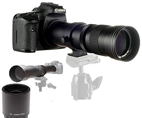 JINTU 420mm -1600mm f/8.3 Manuale Teleobiettivo Compatibile per Canon 4000D 3000D 2000D 1200D 1100D 1000D 1300D 1200D 1100D 100D 250D 9000D 800D 750D 700D 1300D 1500D 750D 650D 550D 500D 90D 60D
