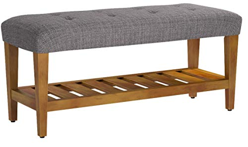 ComfortScape Storage Bench for Entryway with Padded Cushion Seat, Gray & Oak