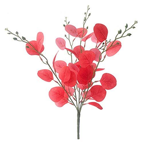 Plantas artificiales de Navidad ramas artificiales de follaje de plantas de hojas de flores para decoración en el hogar o la oficina (tamaño único; color: rojo vino)