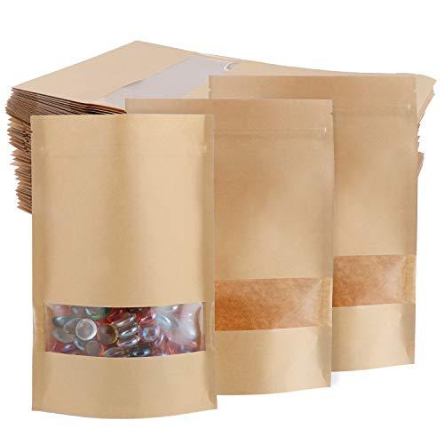 TsunNee 60 st kraftpapper stående matväskor, kraftpapper matförvaringspåsar, återanvändbara påsar med dragkedja, brunpapper matförpackning med genomskinligt fönster, 14 x 20 cm