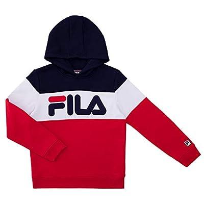 Fila Heritage Unisex Boys and Girls Kids Hooded Brushed Fleece Sweatshirt With Hood (Small, Fila Red Color Block)