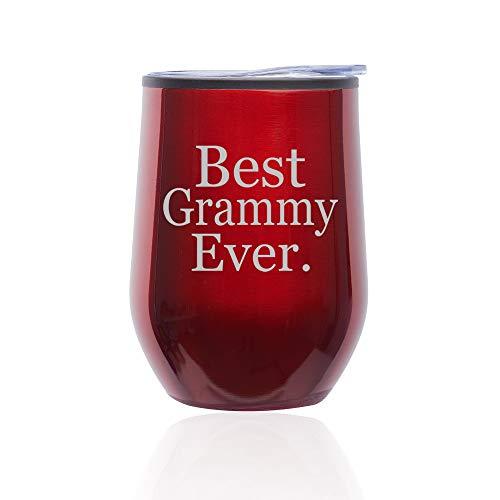 Stemless Wine Tumbler Coffee Travel Mug Glass With Lid Best Grammy Ever Grandma Grandmother (Red)