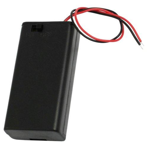Katigan Caja de Bateria Interruptor On/Off Plastico Negro Bateria 2x1.5V AA con Cable