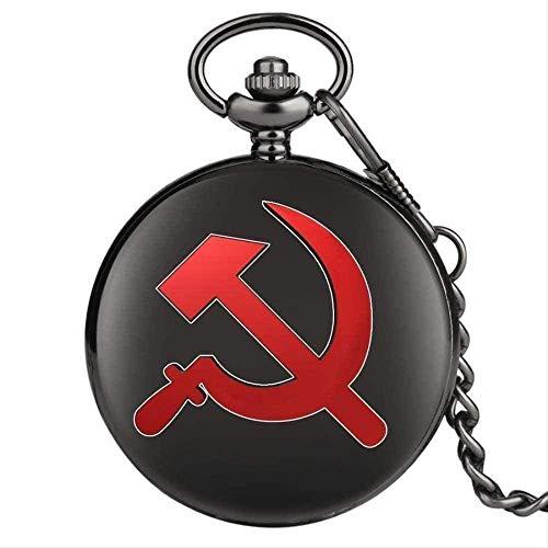 FACAIBA Collar Collar Rojo URSS Soviético Sickle Hammer Style Reloj de Bolsillo de Cuarzo Collar Colgante de Bronce Reloj Emblema de Rusia Cadena del Comunismo Regalos para Mujeres Hombres Regalos