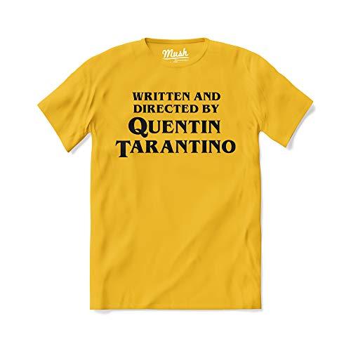 MUSH T-Shirt Titolo di Coda regia Quentin Tarantino - Film - Pulp Fiction - 100% Cotone Organico, L-Uomo, Giallo