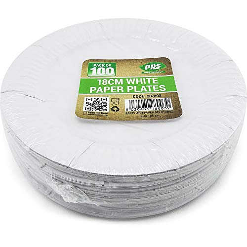100 WHITE PAPER PLATES - 7 inch/18cm quality durable plates ideal for hot and cold food