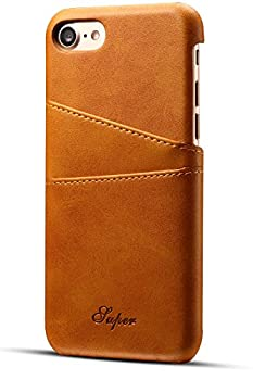 iPhone 8/7 Wallet Phone Case XRPow Slim PU Leather Back Protective Case Cover With Credit Card Holder for Apple iPhone 8 Light Brown