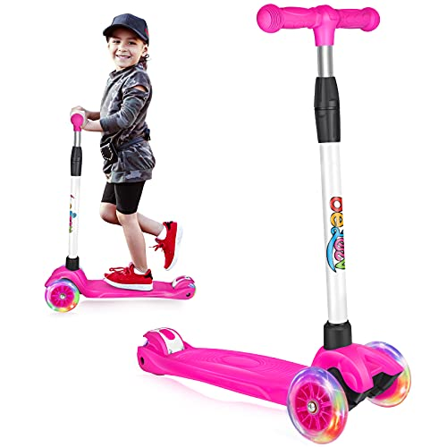 Beleev Scooters for Kids 3 Wheel Kick Scooter, 4 Adjustable Height, Lean to Steer with Light Up...