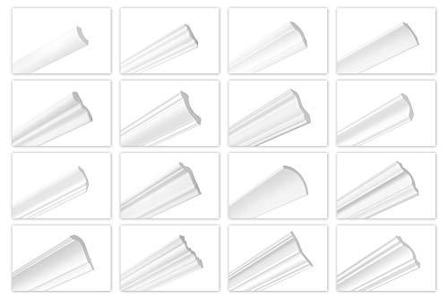 HEXIMO 2 Meter Deckenleisten aus Styropor XPS - Hochwertige Stuckleisten leicht & robust im modernen Design - (ZG24-56x56mm) Stuckprofil Zierprofil Eckprofil Styroporprofil Winkelprofil Wandprofil