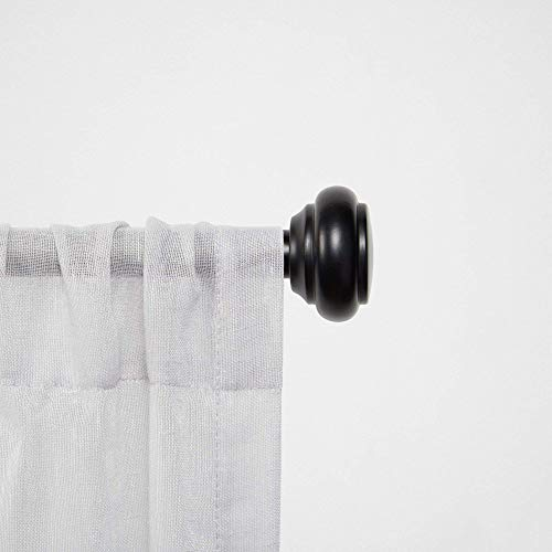 "Chaps Round Cap ¾"" Diameter Window Curtain Rod and Finial Set, 35""-66"", Black"