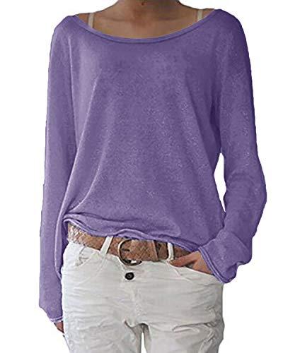ZANZEA Damen Langarm Lose Bluse Hemd Shirt Oversize Sweatshirt Oberteil Tops Hell Lila Small