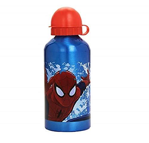 Spiderman – Gourde, 500 ML, Couleurs Assorties : Bleu Bouchon Jaune/Bleu Bouchon Rouge/Rouge Bouchon Noir