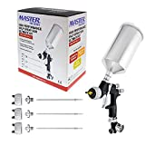 Master Pro 44 Series High Performance HVLP Spray Gun Ultimate Kit with 4 Fluid Tip Sets 1.3, 1.4, 1.5 and 1.8mm and Air Pressure Regulator Gauge - Automotive Basecoats, Clearcoats, Primers Woodworking