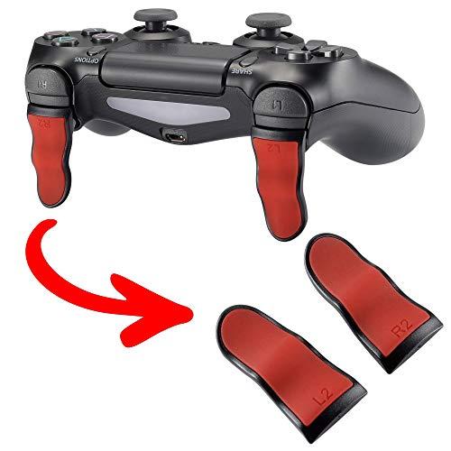 eXtremeRate 2 × Triggers prolongés Gâchettes Soft Touch L2 R2 Boutons pour Playstation 4 pour PS4 Pro Slim Manette Contrôleur(JDM-001 JDM-011 JDM-040 JDM-050 JDM-055) - Rouge & Noir