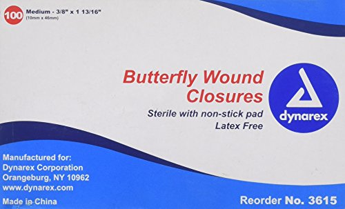 Butterfly Bandages Medium 3/8'x1-13/16' Box 100
