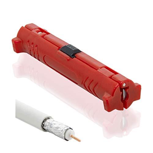PremiumX XCon Universal Abisolierwerkzeug für Koaxialkabel Abisolierer Abisoliermesser Kabel-Stripper SAT Entmanteler