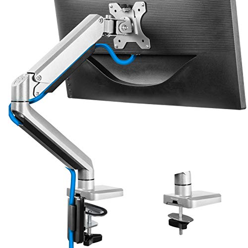 17-32' Single Monitor Desk Mount Stand, Heavy Duty Articulating Gas Spring Monitor VESA Arm with Clamp and Grommet Base, Fits for Computer Monitor 17 to 32 inch, Holds up to 17.6 lbs