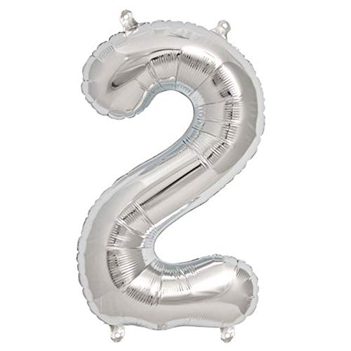 Bestpicks Reusable Premium Quality Foil Number Balloons Birthday Party Decoration 40' Inches Silver Colour , Wedding, Bridal Shower Engagement, Creates unforgettable memories! (Silver2)