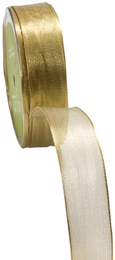 May Arts 1-Inch Wide Ribbon, Metallic Gold