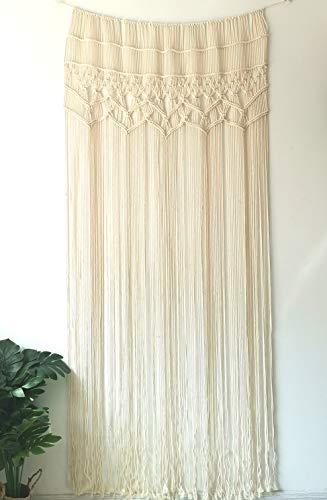 Macrame Wall Hanging Tapestry- Macrame Door Hanging, Room Divider, Macrame Curtains, Window Curtain, Door Curtains, Wedding Backdrop Arch Boho Wall Decor,35x73inch (35X73)