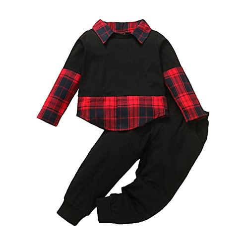Alunsito Ropa de otoño para niños pequeños y niñas, conjunto de blusa a cuadros de manga larga, camisa + pantalones largos de cintura elástica, rojo 90 2-3 años