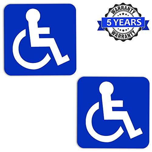SkinoEu® 2 Stück Vinyl Aufkleber Autoaufkleber Behindert Symbol Rollstuhlfahrer Rollstuhl Stickers Auto Moto Motorrad Fahrrad Fenster Tür Tuning B 1