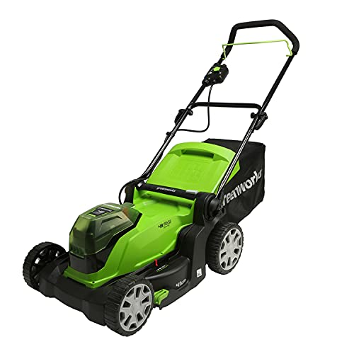 Greenworks Cortacésped con batería G24X2LM41 (Li-Ion 2x 24V, 41 cm de ancho de corte, hasta 220 metros cuadrados, caja colectora de césped 50 L, 6 niveles de altura de corte sin batería ni car