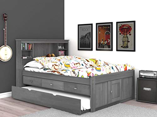 Discovery World Furniture Charcoal Full Bookcase Bed with 3 Drawers and Twin Trundle