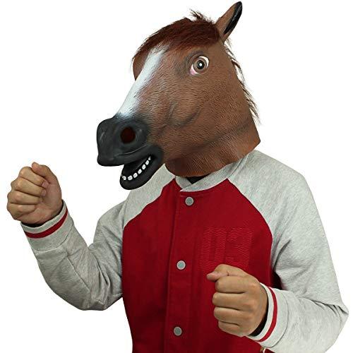 Cusfull Pferdmaske,Latex Tiermaske Pferdekopf Pferdemaske Pferd Kostüm für Halloween Weihnachten Party Dekoration (Braun Pferd)