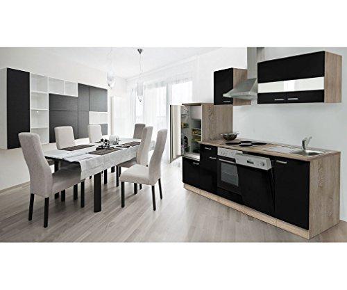 respekta Küche Küchenzeile Küchenleerblock Leerblock 280cm Eiche Sonoma schwarz