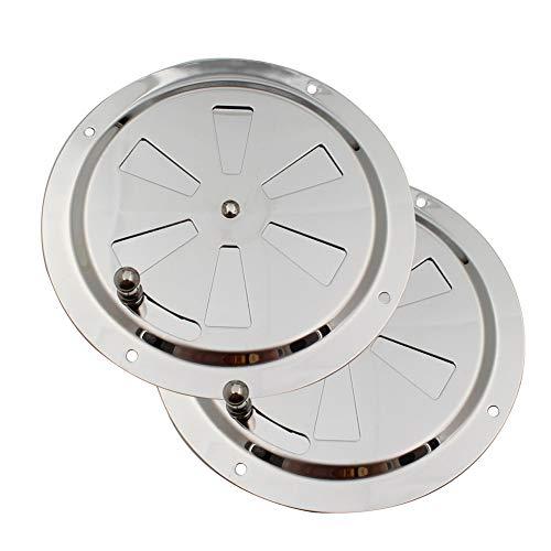 Vegena Roseta de ventilación redonda de acero inoxidable, 125 mm, chapa de ventilación, rejilla de ventilación, válvula de plato, orificio de ventilación, piezas para barco, ahumador, casa