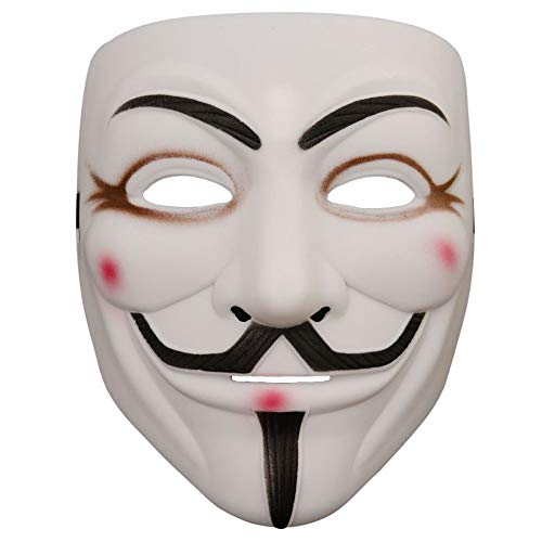 Hackers Mask V for Vendetta Anonymous Halloween Party Cosplay for Boy Girl Men Women (White 1Pack)