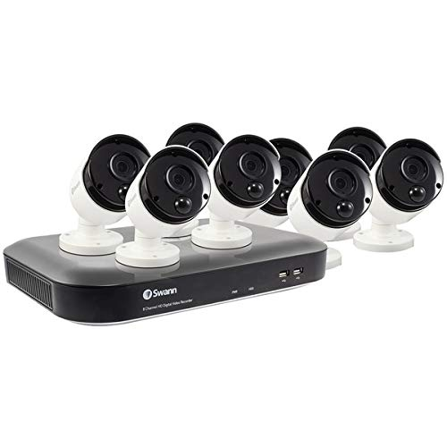Swann 8 Channel 8 Camera Security System, Wired Surveillance 4K Ultra HD DVR 2TB HDD, Indoor/Outdoor, Color Night Vision + Heat & Motion Detection, Pairs with Google Assistant + Alexa, SWDVK-855808