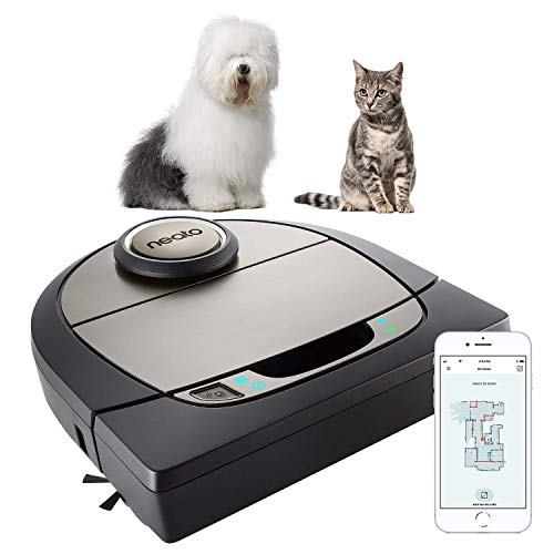 Neato Robotics D750, Cleaner Premium Pack, Corner Cleaning Robot Vacuum with D-Shape + Exclusive Pet Accessories for Carpet and Hard Floors, App/Alexa Compatible, Silver