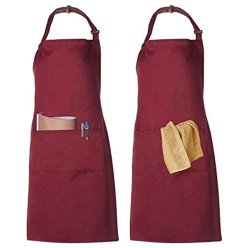 2 Pack Schürze Kochschürze Küchenschürze Latzschürze Verstellbarem Nackenband 100% Baumwolle für Frauen Männer Chef (rot)