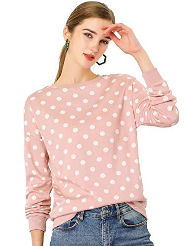 Allegra K Suéter Jersey De Lunares Top De Punto De Otoño Cuello Redondo Elástico Manga Larga para Mujeres Rosa XS