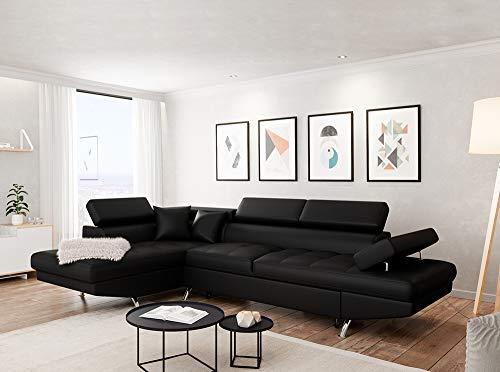 Canapé d'angle Noir Cuir