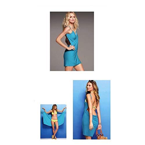 Cisne 2013, S.L. Vestido Pareo de Playa para Mujer. Vestido Convertible en Toalla o Manta para la Playa. Pareo Toalla para Mujer Talla Unica Color Azul.