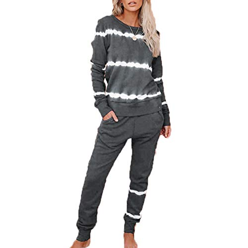 Hiser Damen Pyjama Set, Schlafanzüge Baumwolle Outfit Set Lange Ärmel Bluse + Hosen, Nachtwäsche Homewear, Weich Bequem und Schön Langarm Hausanzug (Grau,XL)