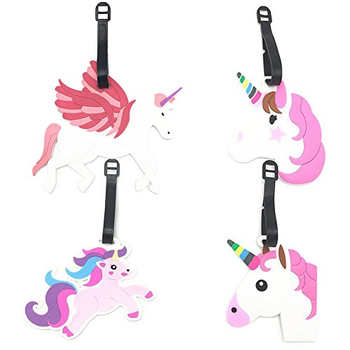 Cute Unicorn Luggage Tags for Kids Women Girls Travel Baggage Tag Card Suitcase ID Label, Big Size, Set of 4