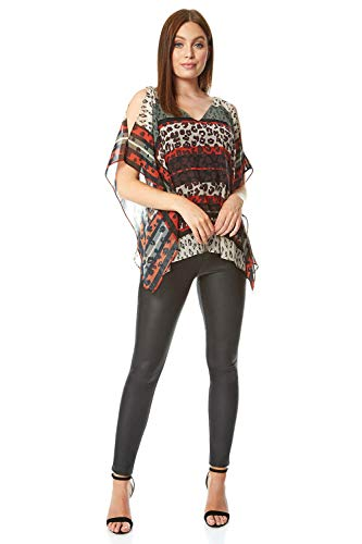 Roman Originals dames gestreepte overlay-top met dierprint – casual party vakantie avondje V-hals korte mouwen contrast bedrukt Safari-Trend chiffon licht blouse bovenstukken
