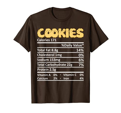 Cookie Nutricin Informacin Alimentaria Disfraz de Accin de Gracias Navidad Camiseta