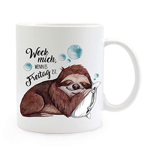 ilka parey wandtattoo-welt Tasse Becher Motiv mit schlafendes Faultier & Spruch Weck Mich Freitag Kaffeebecher Geschenk Spruchbecher ts905