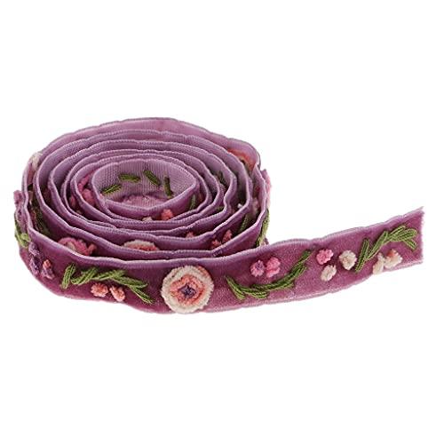 Diaod 1 Yarda Elegante Flor Bordado Terciopelo con cordón de Encaje púrpura para la decoración de Costura DIY Craft Antes ADMINIOS Accesorios